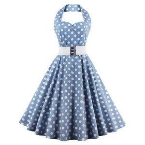 Dresses & Skirts - Vintage Blue and White polka dot dress